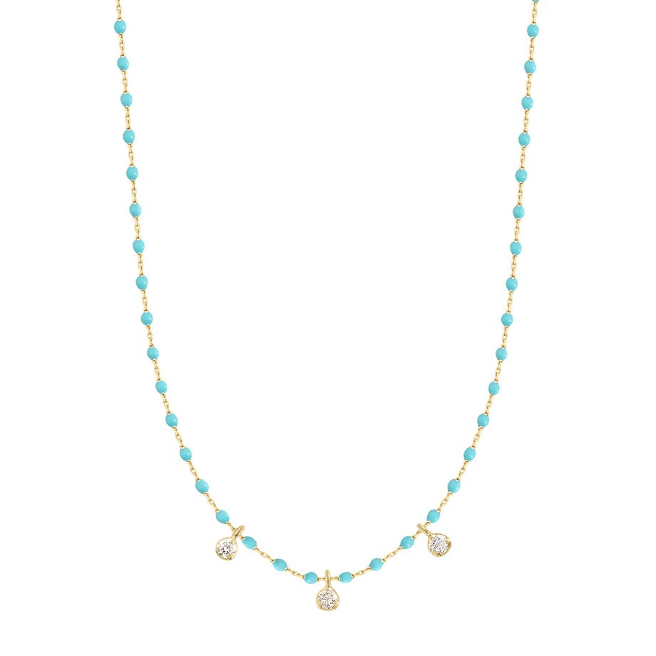 Gigi Clozeau - Mini Gigi Turquoise Green necklace, Yellow Gold 3 Diamonds, 16.5