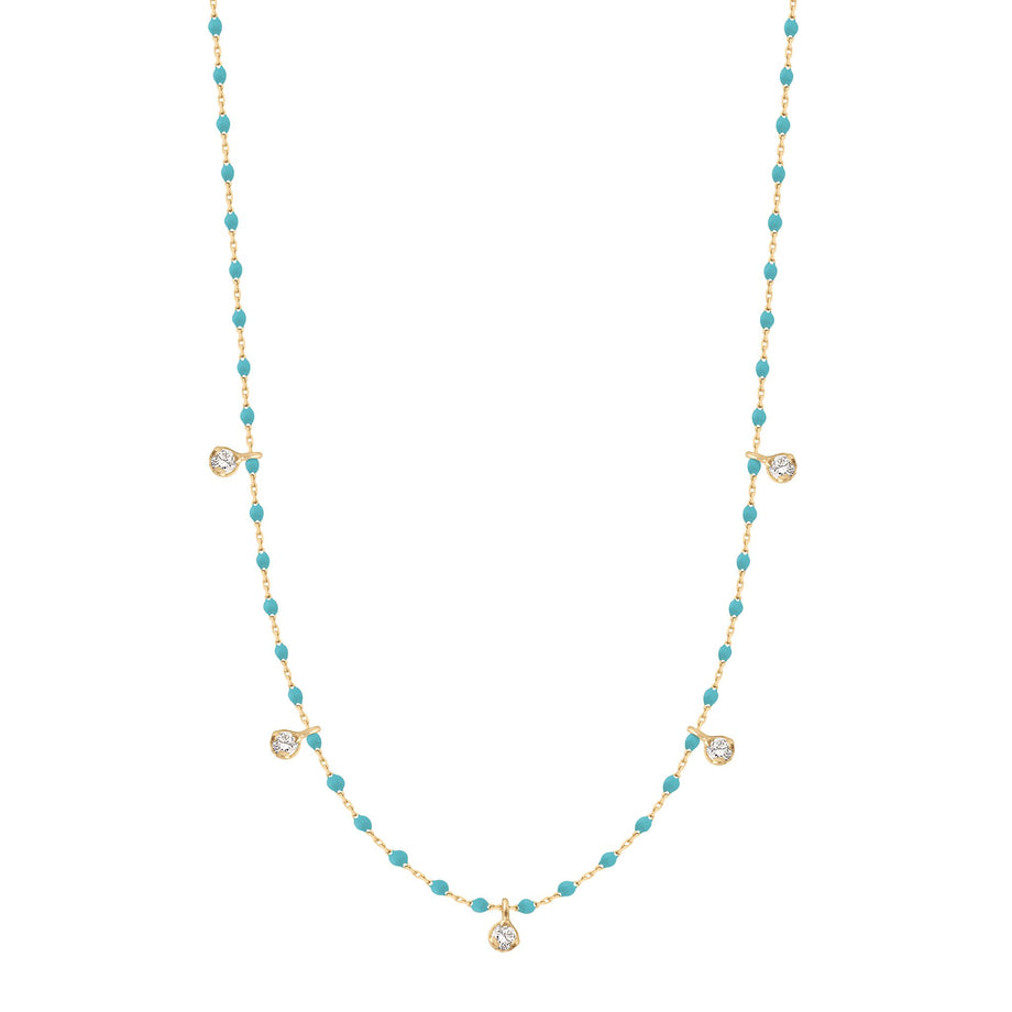 Gigi Clozeau - Mini Gigi Turquoise Green necklace, Yellow Gold 5 Diamonds, 21.7