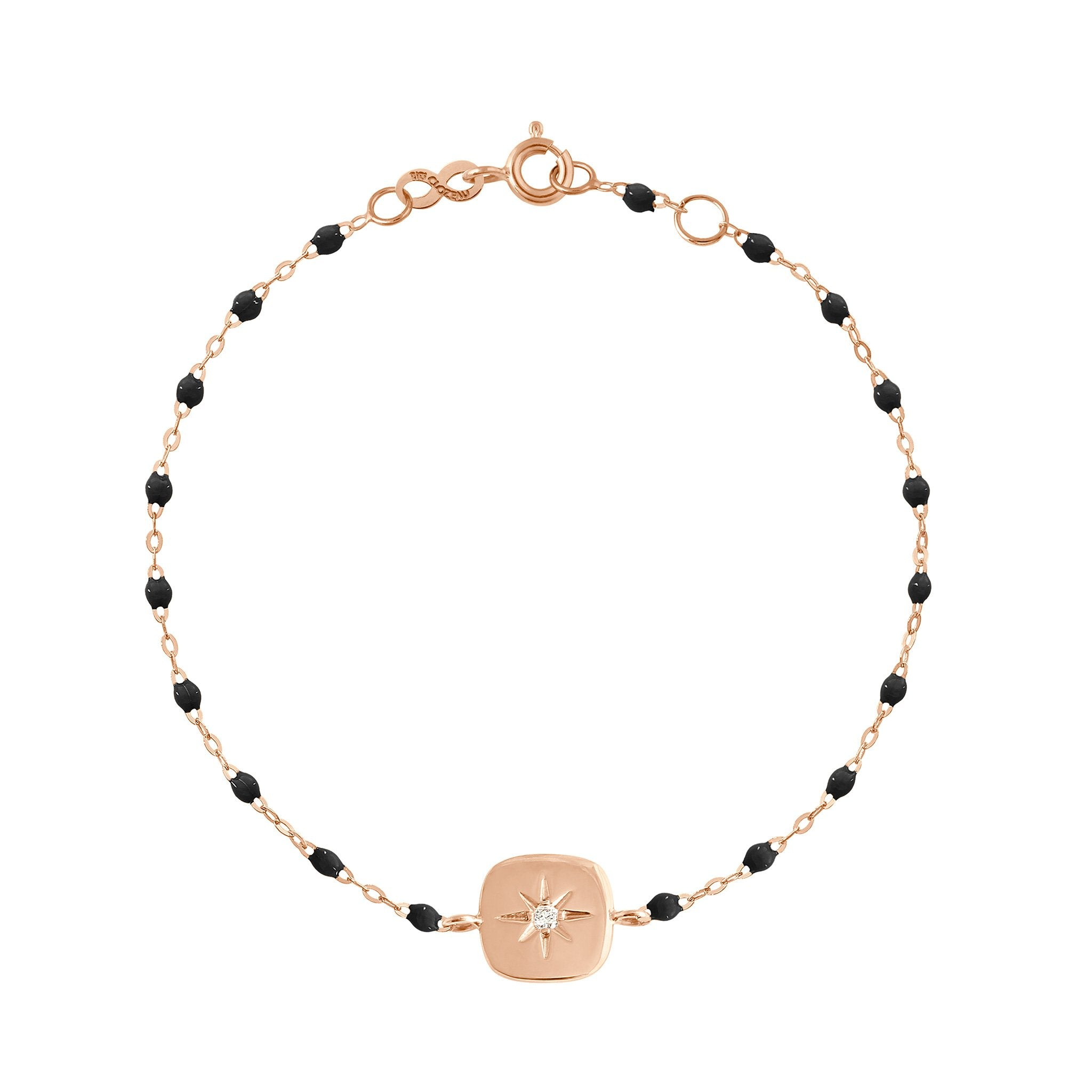 Gigi Clozeau - Miss Gigi Black diamond bracelet, Rose Gold, 6.7""