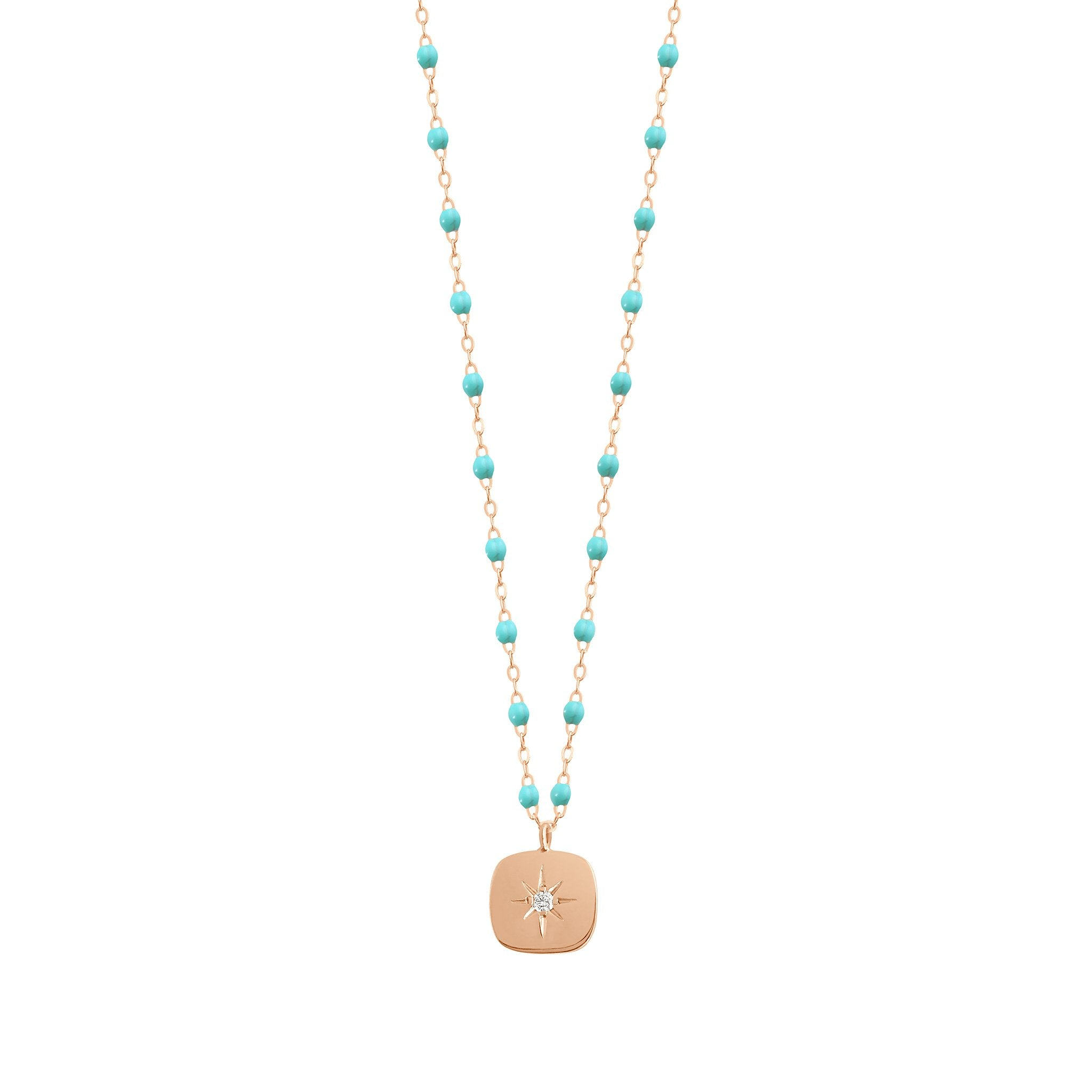 Gigi Clozeau - Miss Gigi Turquoise Green diamond necklace, Rose Gold, 16.5""