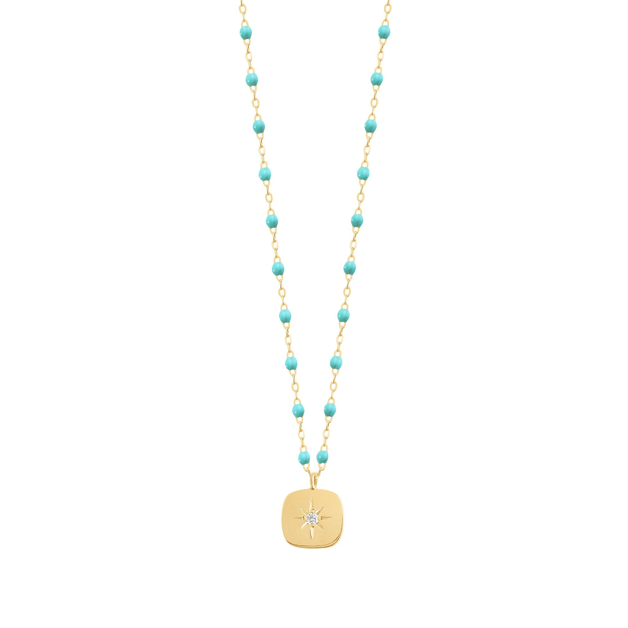 Gigi Clozeau - Miss Gigi Turquoise Green diamond necklace, Yellow Gold, 16.5""