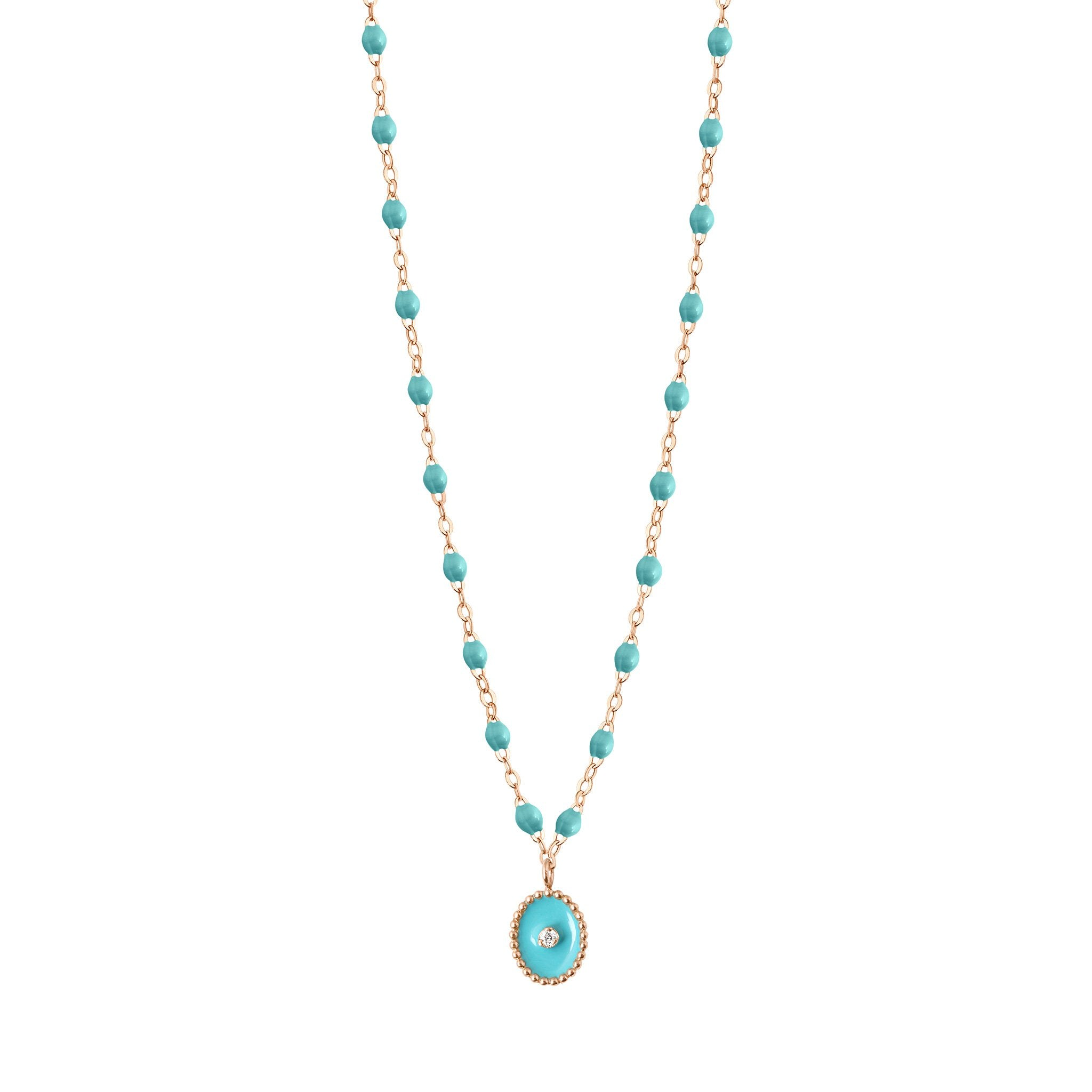 Gigi Clozeau - North Star Classic Gigi Turquoise Green diamonds necklace, Rose Gold, 16.5""