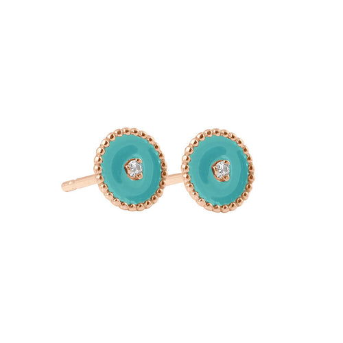 Gigi Clozeau - North Star, diamonds Turquoise Green resin earrings, Rose Gold