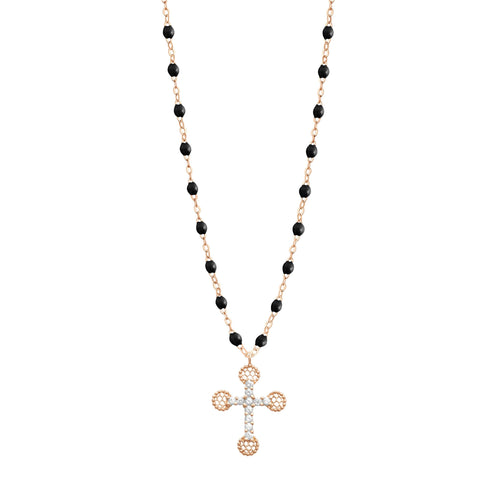 Gigi Clozeau - Petite Lace Cross Black diamonds necklace, Rose Gold, 16.5