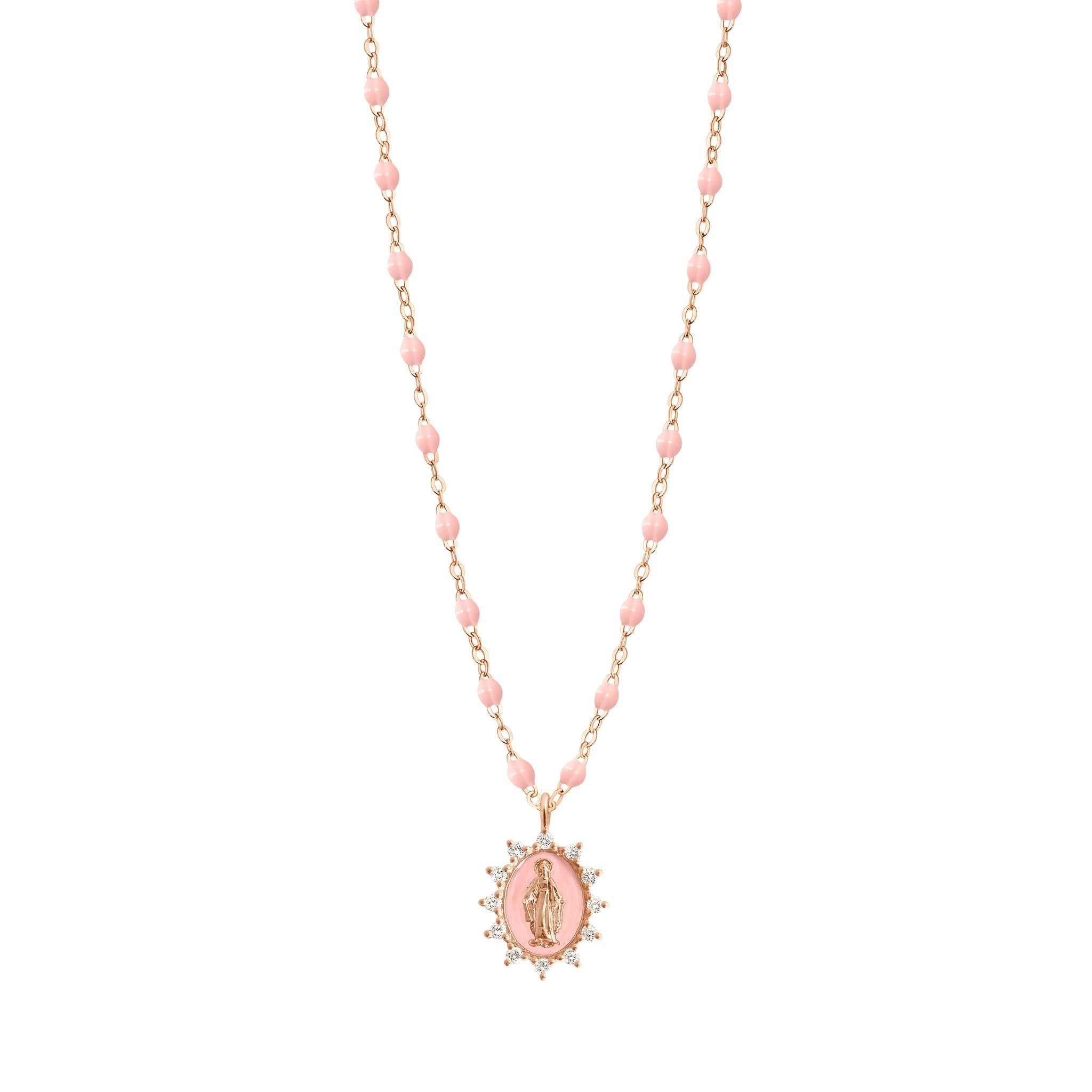 Gigi Clozeau - Petite Madone Supreme Baby Pink diamonds necklace, Rose Gold, 16.5