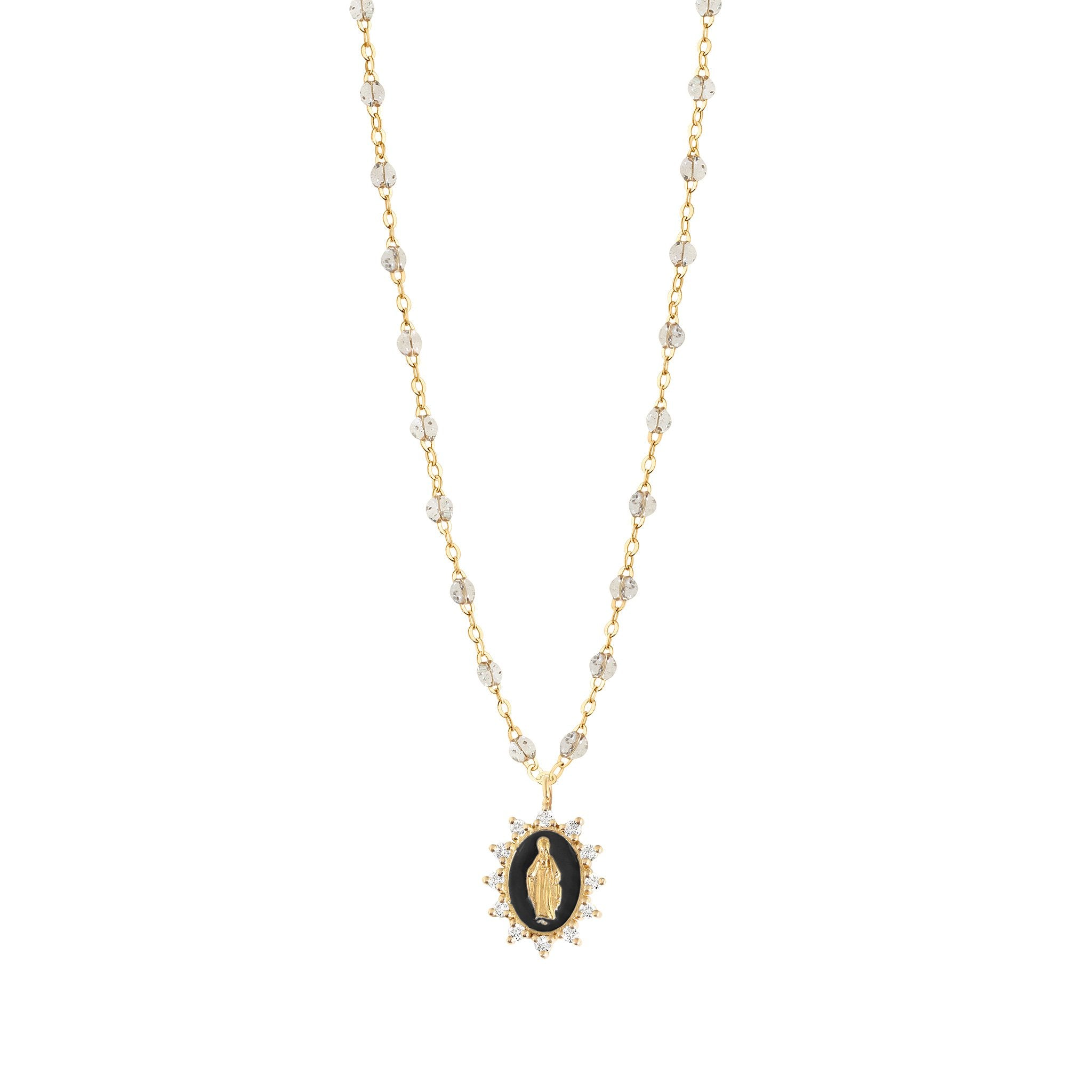Gigi Clozeau - Petite Madone Supreme Sparkle Black diamonds necklace, Yellow Gold, 19.7