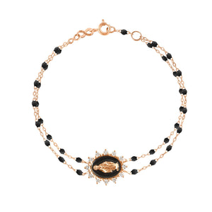 Gigi Clozeau - Madone Supreme Black diamond bracelet, Rose Gold, 6.7""