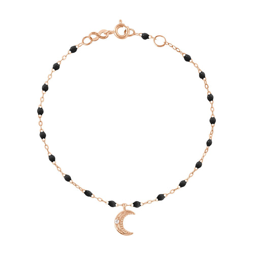 Gigi Clozeau - Petite Moon Classic Gigi Black diamonds bracelet, Rose Gold, 6.7