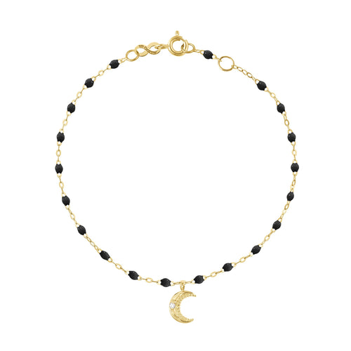 Gigi Clozeau - Petite Moon Classic Gigi Black diamonds bracelet, Yellow Gold, 6.7