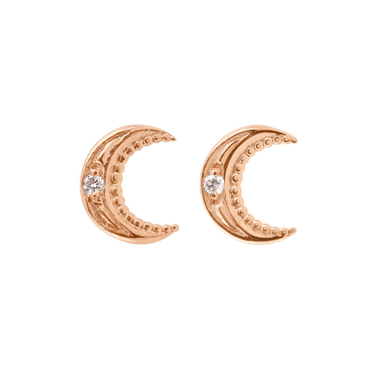 Gigi Clozeau - Petite Moon diamonds earrings, Rose Gold