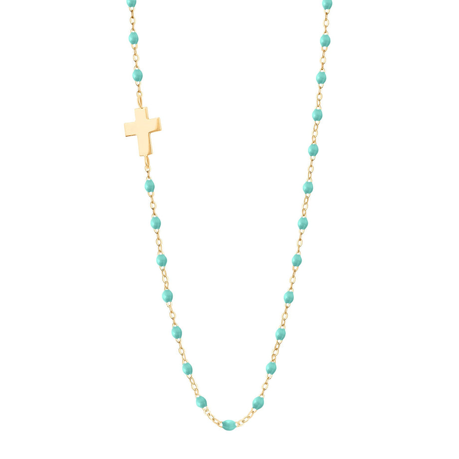 Gigi Clozeau - Side Cross Charm Classic Gigi Lagoon necklace, Yellow Gold, 16.5