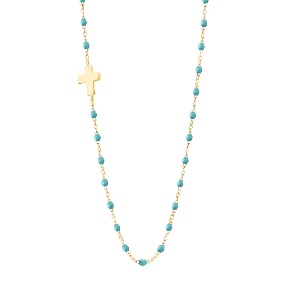 Gigi Clozeau - Side Cross Charm Classic Gigi Turquoise Green necklace, Yellow Gold, 16.5