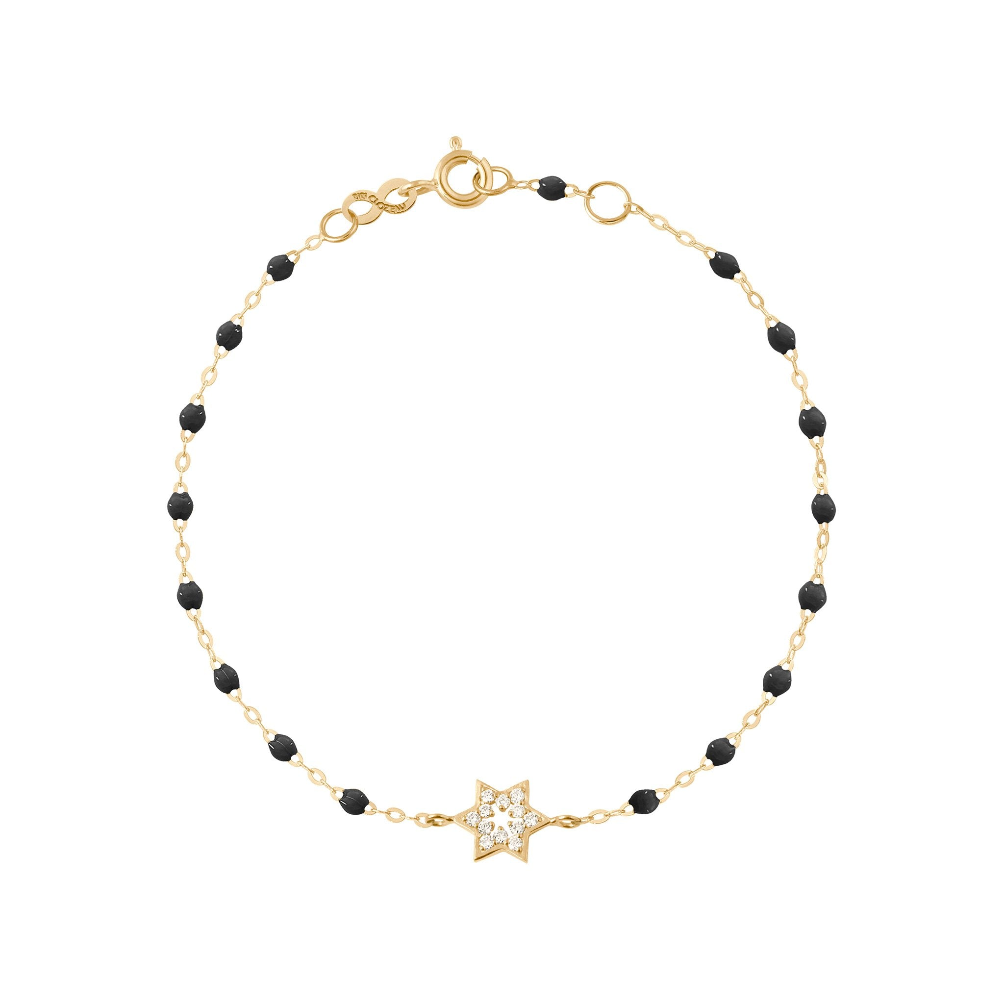 Gigi Clozeau - Star of David Classic Gigi Black diamonds bracelet, Yellow Gold, 6.7