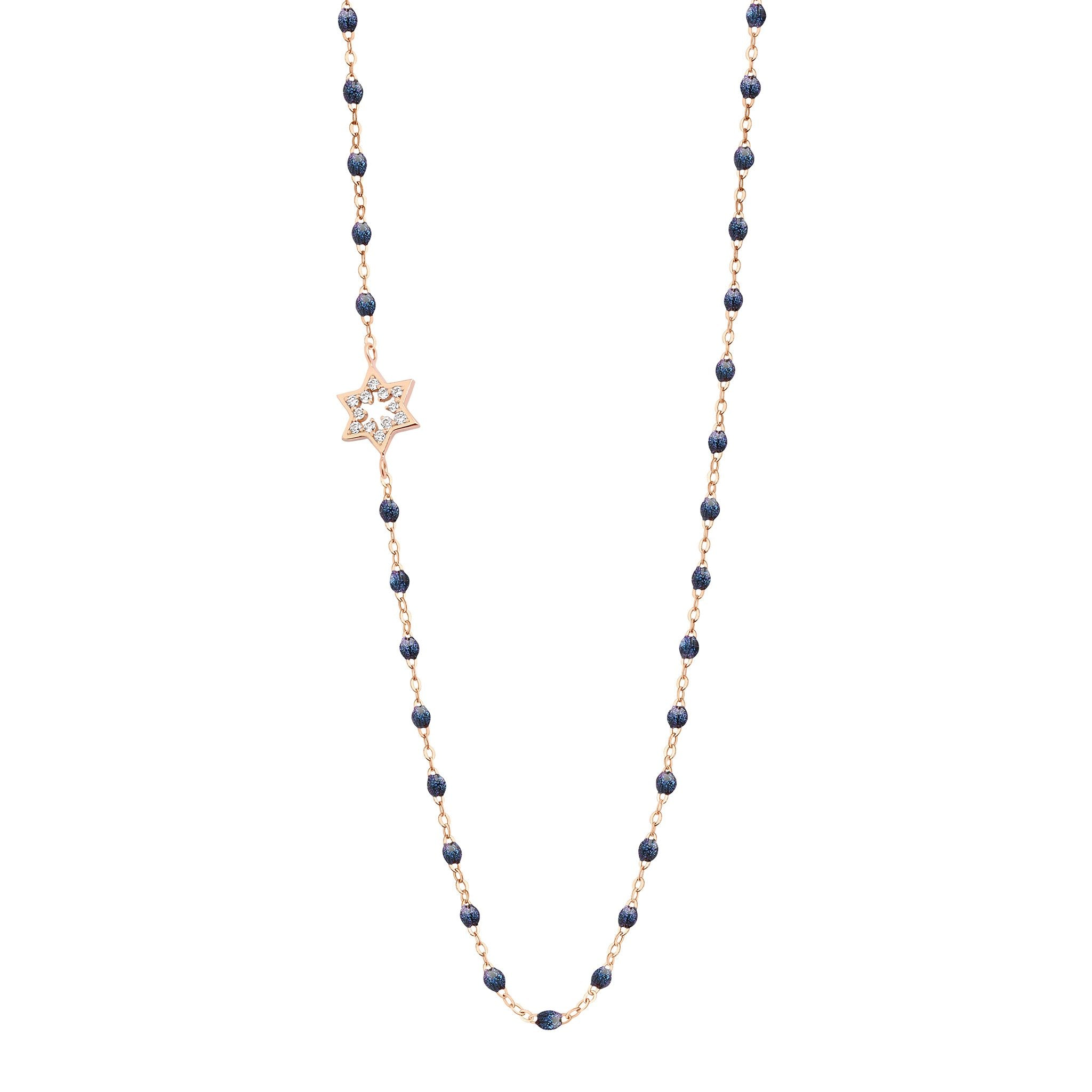 Gigi Clozeau - Star of David Classic Gigi Midnight diamonds necklace, Rose Gold, 16.5""