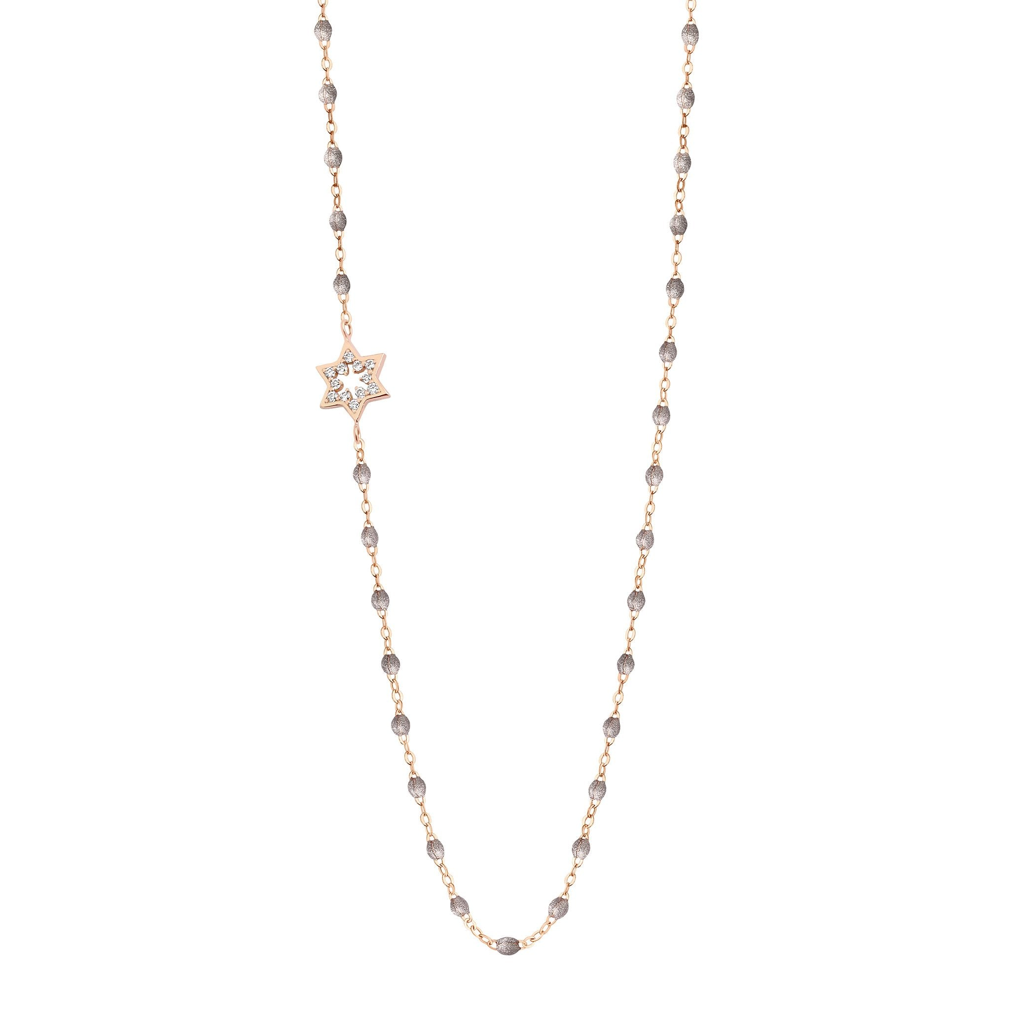 Gigi Clozeau - Star of David Classic Gigi Silver diamonds necklace, Rose Gold, 16.5""