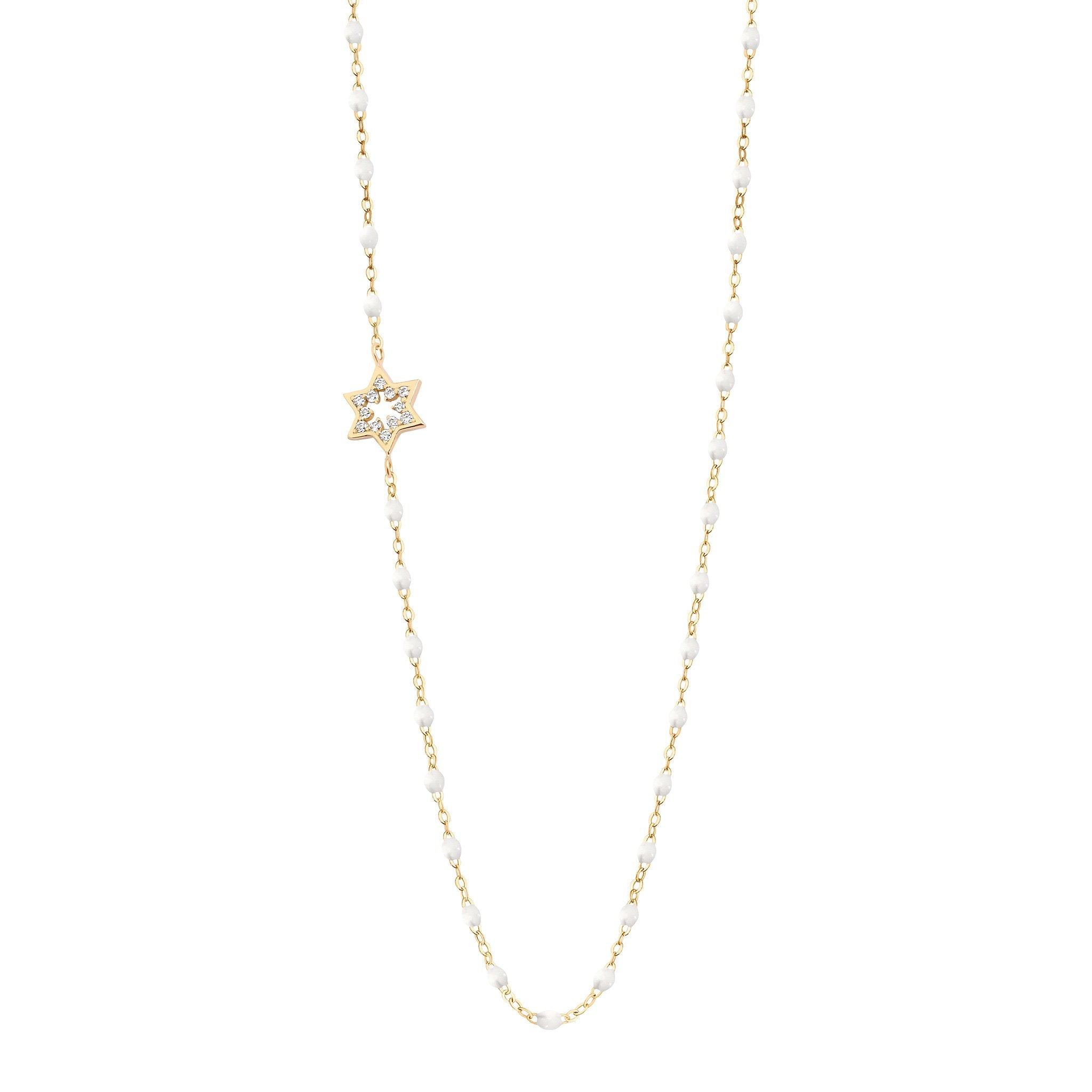 Gigi Clozeau - Star of David Classic Gigi White diamonds necklace, Yellow Gold, 16.5""