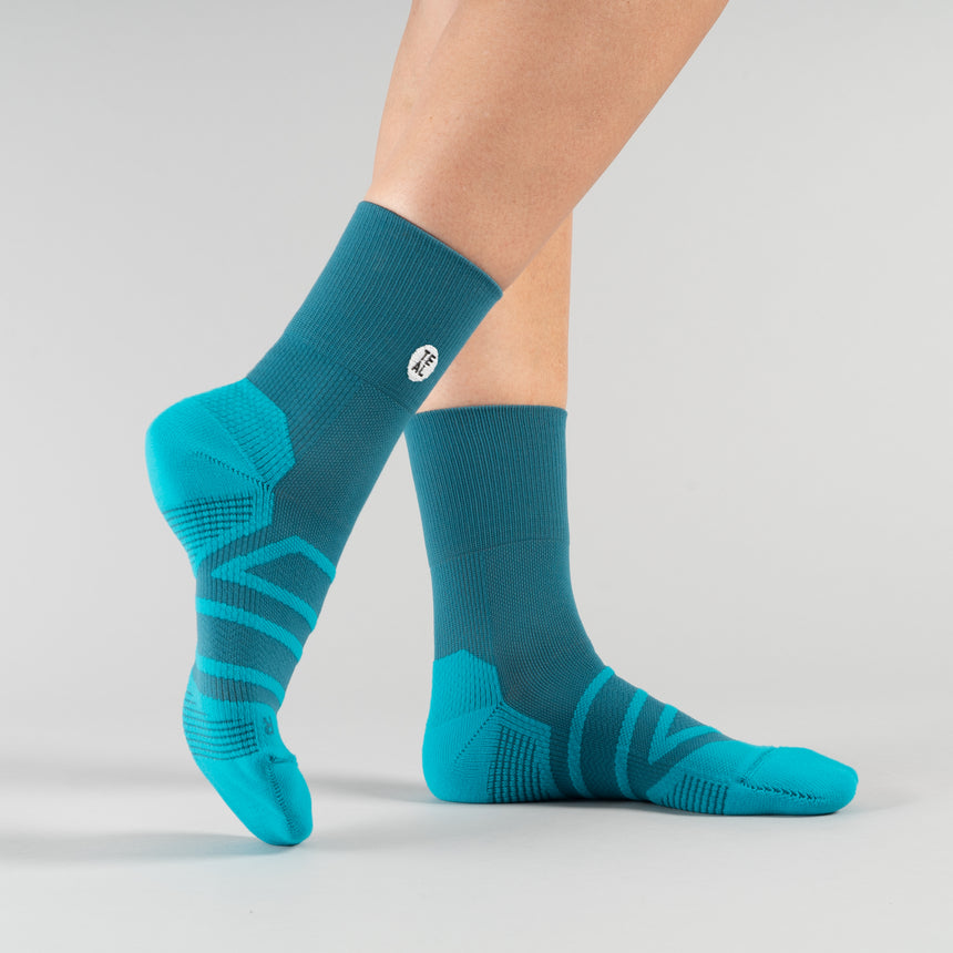 Performance Sock Mid: Teal/Carribean