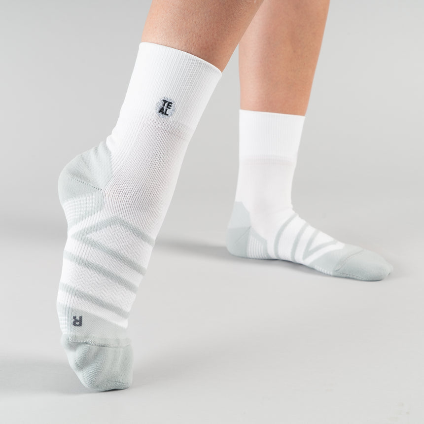 Performance Sock Mid: White/Pebble