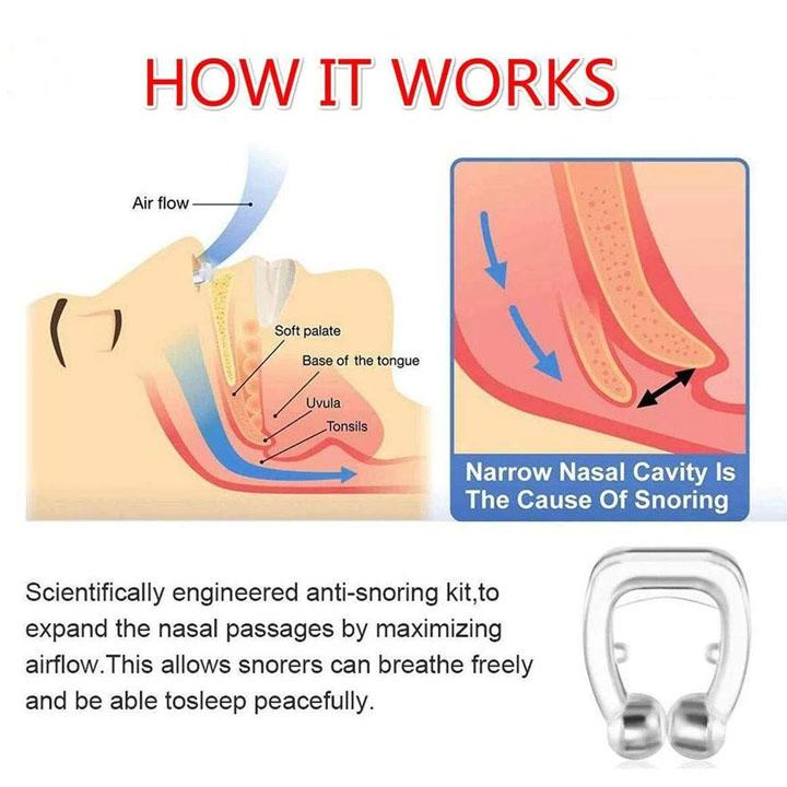 338_Snore Free Nose Clip | Unisex Stop Snoring Anti Snore Free Sleep Silicone Magnetic Nose Clip