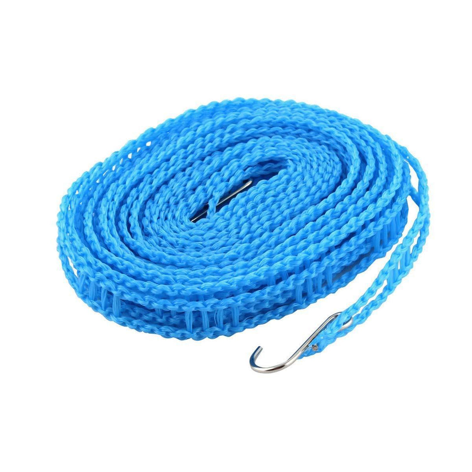 Meters Windprood Anti-Slip Clothes Washing Line Drying Nylon Rope with Hooks