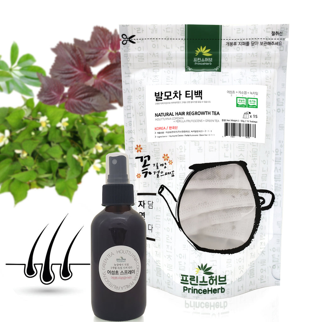 Hair Restoration SET 100% Natural Hair Restoration Spray + Tea | [한국산] 발모세트 (발모차, 발모팩)