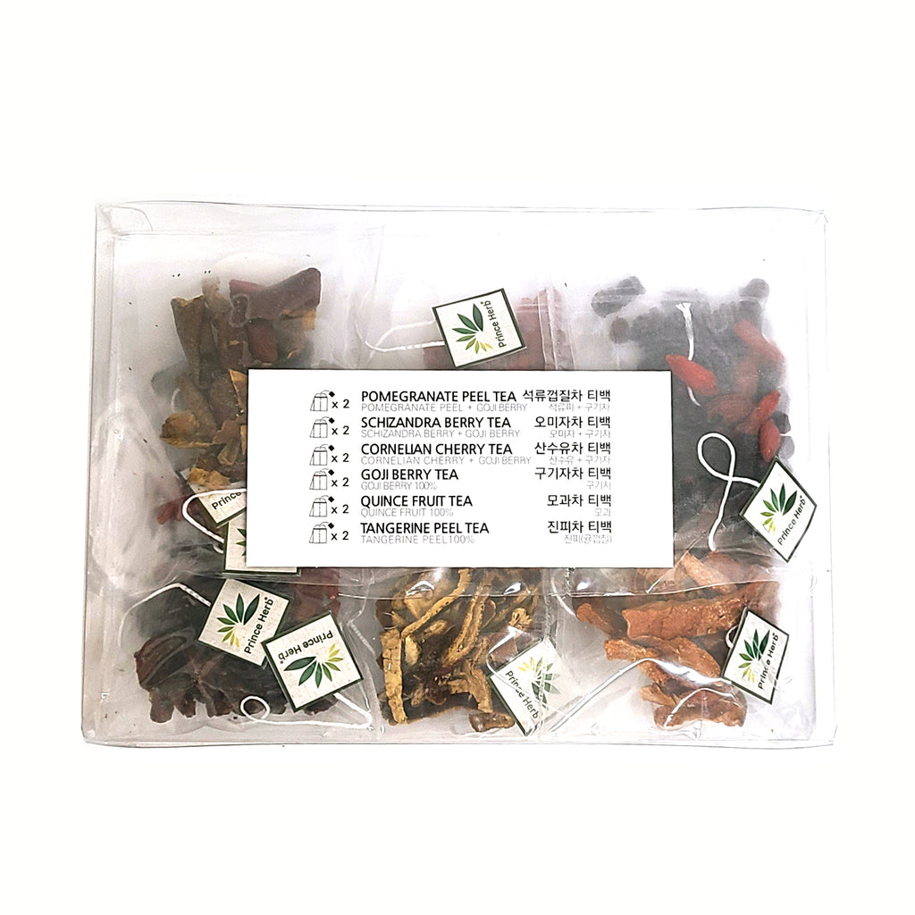 100% Natural Assorted 6 Fruits & Berries 12 pcs Teabag Tea Set | 6종 과일 & 베리 티백차 선물 세트