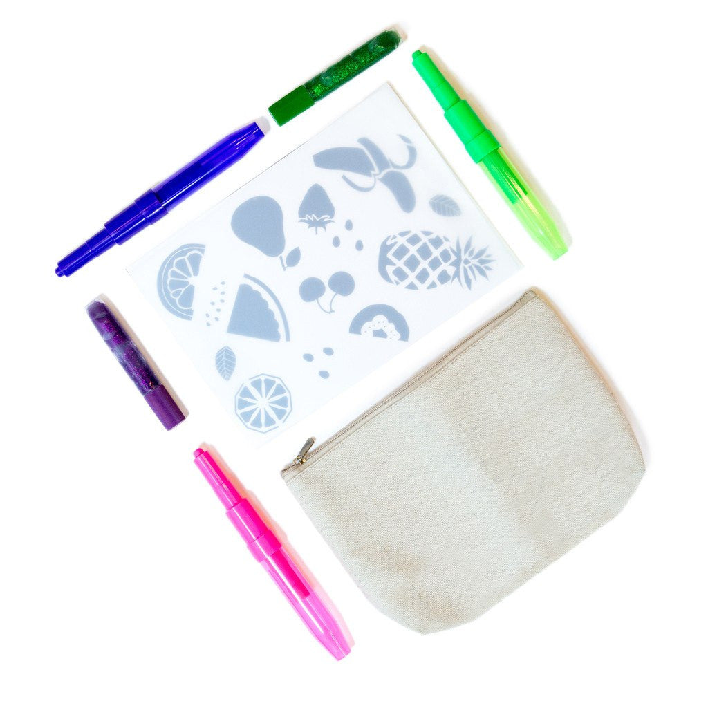Design Your Own Fruity Fun Stencil Pencil Case