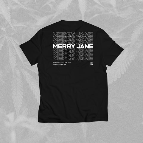 MERRY JANE Stacked Black T-Shirt