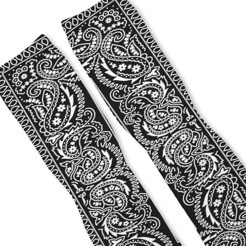 Black Bandana Paisley Custom Athletic Fresh Socks