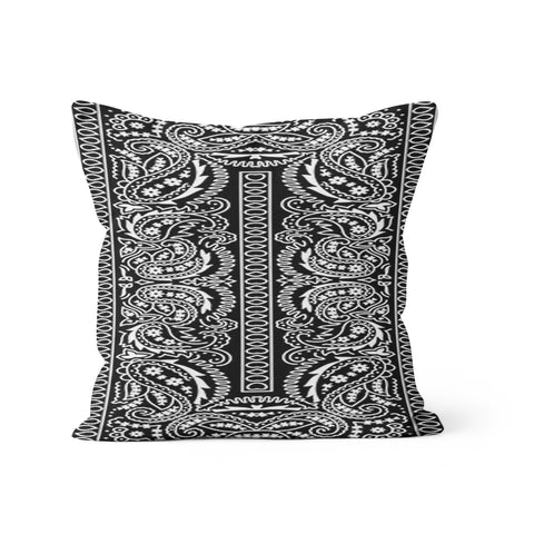 Black Bandana Paisley Pillow