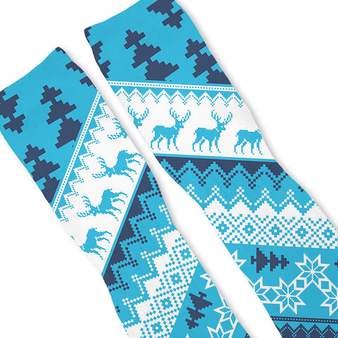 CHRISTMAS SWEATER BLUE Custom Athletic Fresh Socks