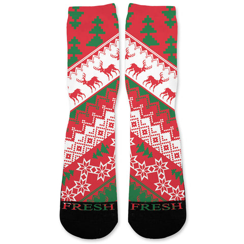 CHRISTMAS SWEATER RED Custom Athletic Fresh Socks