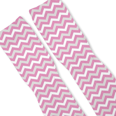 Chevron Pink Custom Athletic Fresh Socks