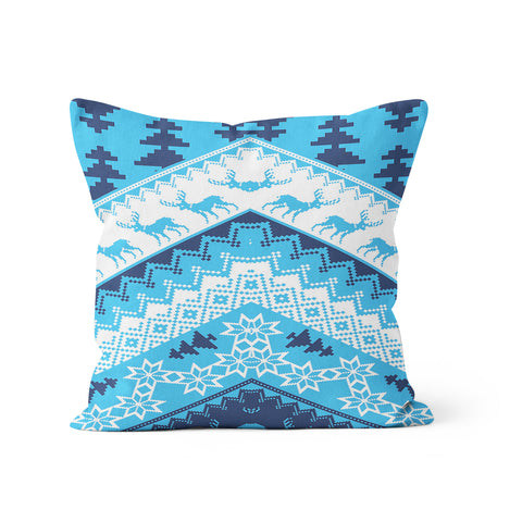 Christmas Sweater Blue Pillow