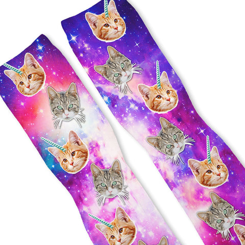 Crazy Space Cats Custom Athletic Fresh Socks
