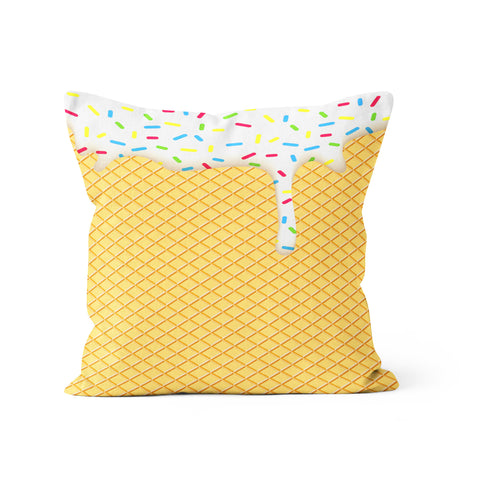 Dripping Ice Cream Cone Pillow