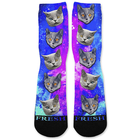 Evil Space Cats Custom Athletic Fresh Socks