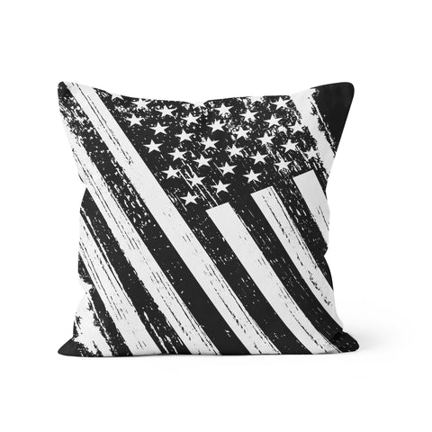 Patriotic Black White USA Flag Pillow