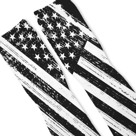 Patriotic Black White USA Flag Custom Athletic Fresh Socks