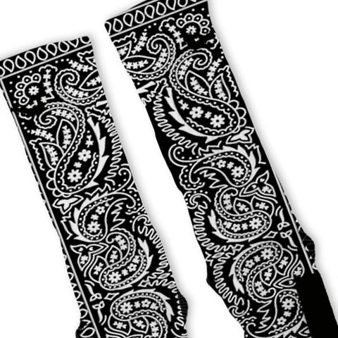 Black Bandana Paisley Custom Nike Elite Socks