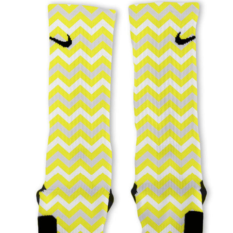 Chevron Yellow Customized Nike Elite Socks