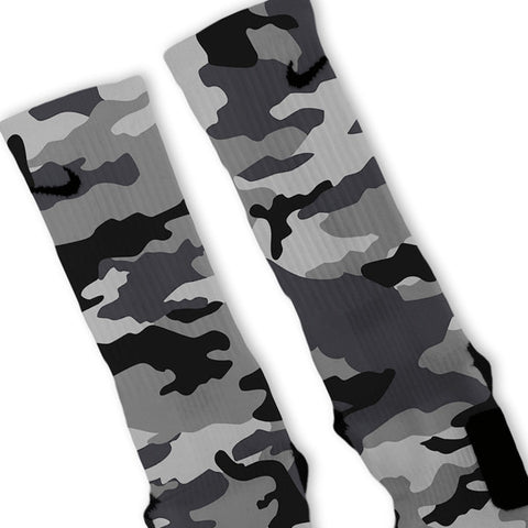 Combat Grey Snow Camo Custom Nike Elite Socks