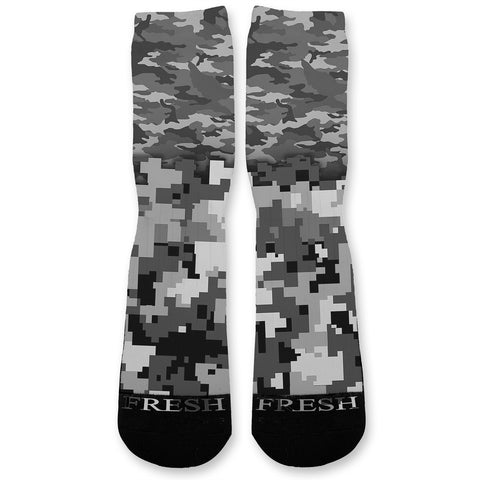 Combat Mixed Grey Camo Custom Athletic Fresh Socks