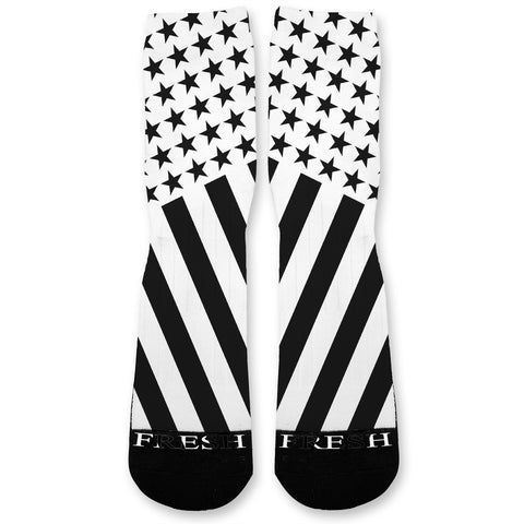 Combat Stars And Stripes Black White Custom Athletic Fresh Socks