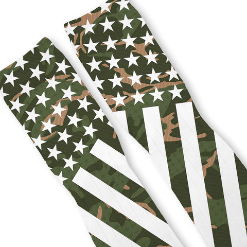 Combat Stars And Stripes Green Camo Custom Athletic Fresh Socks