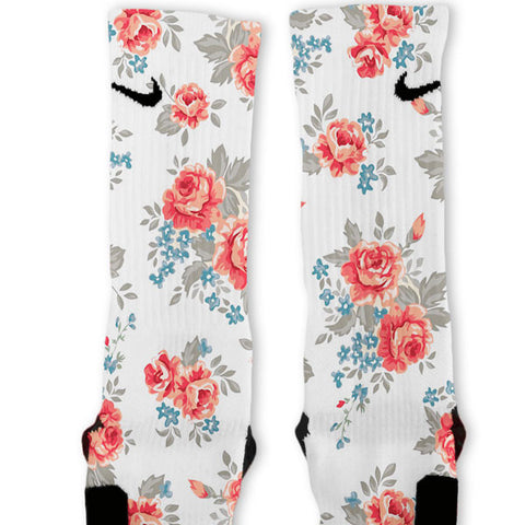 Floral White Custom Nike Elite Socks