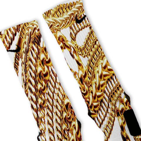 Gold Chains Custom Nike Elites Socks