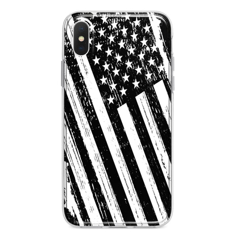 PATRIOTIC BLACK WHITE USA AMERICAN FLAG CUSTOM IPHONE CASE