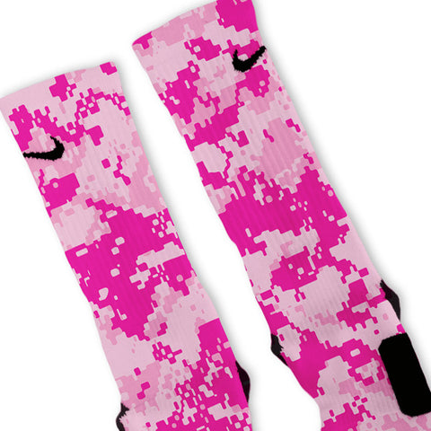 Pink Digital Camo Customized Nike Elite Socks