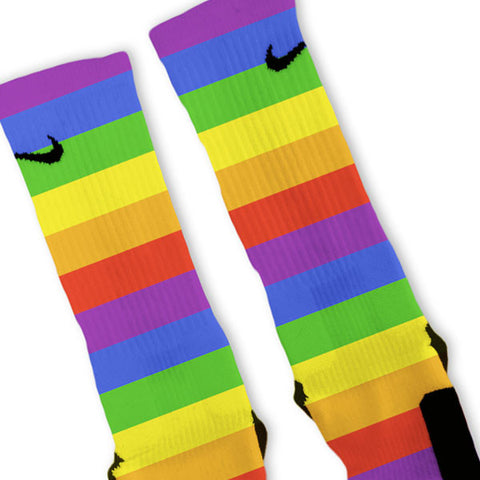 Rainbow Stripes Customized Nike Elite Socks